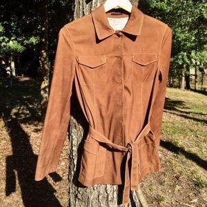Elie Tahari designer suede shirt jacket sz XS or S